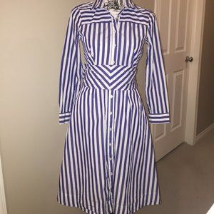 J. Crew Navy and White A-line dress
